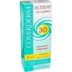 Coverderm Filteray Face Plus 2 in 1 Tinted Light Beige Dry/Sensitive Skin SPF30 50ml